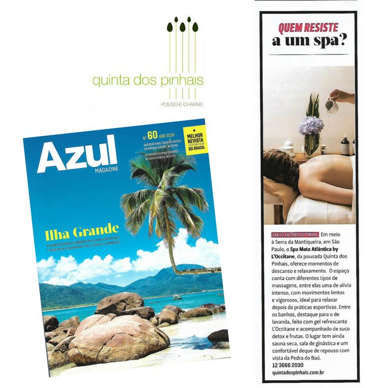 [:pb]Spa da pousada Quinta dos Pinhais ganha destaque na Azul Magazine[:]